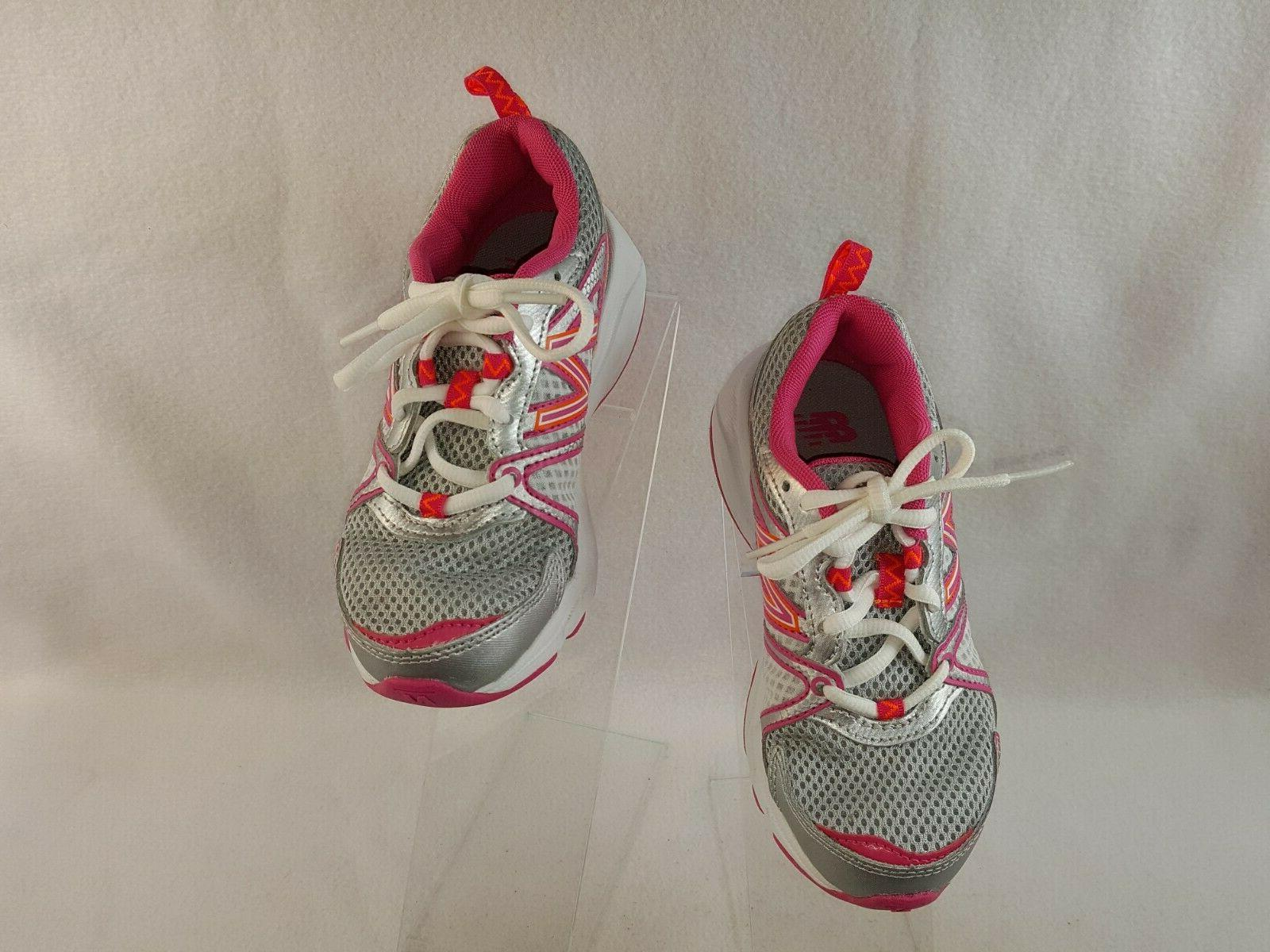 New Balance Shoes, Kids Girls Size Wide, Silver/Pink