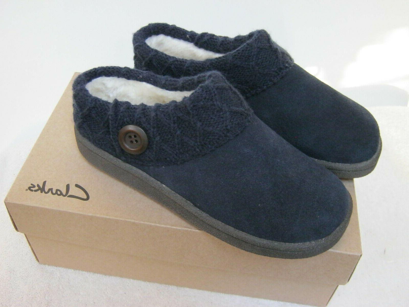 """Clarks Women's Navy Knitted Collar Clog Shoes. """" New """" Size"""