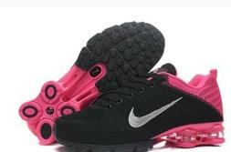 New Women Black and Pink Nike Shox Avenue Athletic Running S